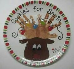 Cookies for Santa - reindeer hands plate : Brush Strokes Pottery : Austin, TX Holiday Fun, Holiday Crafts, Fun Crafts, Crafts For Kids, Crafts Toddlers, Christmas Plates, Christmas Holidays, Christmas Decorations, Christmas Ornaments