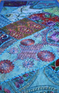 indien patchwork tagesdecke bettüberwurf vintage sari bunt, Hause deko