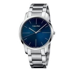 The CALVIN KLEIN city watch features a stainless steel case with a polished and brushed stainless steel strap. Its dial is blue and covered with a mineral crystal. This quartz watch has a push-button deployment clasp and is water-resistant to 30 meters. Ck Calvin Klein, Calvin Klein Watch, Gents Watches, Watches For Men, Stainless Steel Watch, Stainless Steel Bracelet, Elegant Watches, Beautiful Watches, Baume Mercier