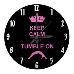 Keep calm and tumble gymnast wallclock  #cheer #gymnastics #tumbling #powertumbling