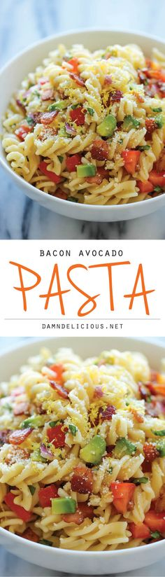 Bacon Avocado Pasta - An easy 20 minute pasta dish loaded with fresh avocado, crisp bacon and Parmesan goodness!