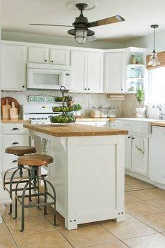White kitchen, butcher block island