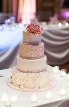 Wedding Cake With Pink Flowers By Oak Mill Bakery Photography Joanna Smith