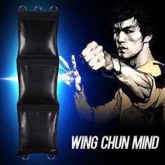 Wing Chun Mind KungFu Black Canvas Wall Striking Bag with Hanging D-Rings