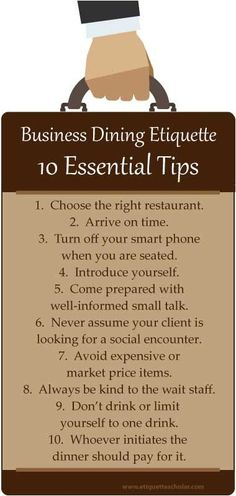 Great dining etiquette advice to help you make a great impression at your next business lunch or dinner! - 10 Essential Business Dining Etiquette Tips