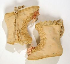 Baby boots, C. 1889. French cotton and silk.