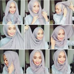 If you have a round face, you might find it difficult to choose a suitable Hijab Style. All modern styles look amazing on long-faced girls, but Square Hijab Tutorial, Simple Hijab Tutorial, Turban Tutorial, Hijab Style Tutorial, Modern Hijab Fashion, Hijab Fashion Inspiration, Muslim Fashion, Habits Musulmans, Hijab Styles For Party