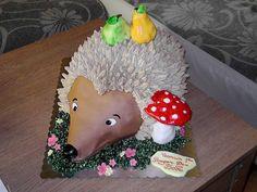 Hedgehog cake by Svetlana's cakes, via Flickr Hedgehog Cookies, Hedgehog Cake, Hedgehog Birthday, Fondant Cakes, Cupcake Cakes, 3d Cakes, Themed Birthday Cakes, Themed Cakes, Animal Cakes