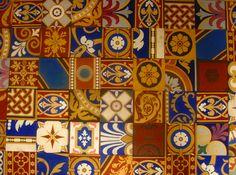 Original encaustic tiles by Minton Hollins & Co available through oscars interiors £9.60 per tile