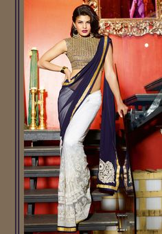 Navy Blue and Off White Faux Georgette and Net Saree with Blouse Online Shopping: STN174