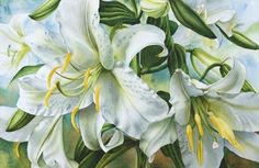 Watercolor Painting Demonstration of Casa Blanca Lilies- Floral Art by Lisa Hill