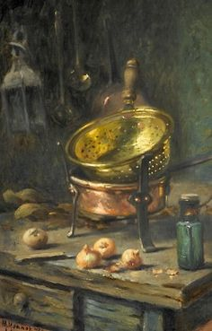 Maurice Louis Monnot  Still Life with Onions, Brass and Copperware, 1922