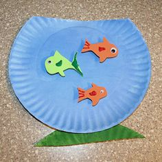 Paper plate fish bowl.  I can't get enough of the paper plate crafts for the little ones.