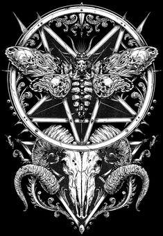 ADROIT THEORY pt.2 on Behance Witchy Wallpaper, Gothic Wallpaper, P Tattoo, Dark Art Tattoo, Chinese Letter Tattoos, Pentagram Tattoo, Heavy Metal Art, Dark Art Illustrations, Satanic Art