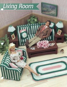 Living Room Furniture Set, Annie's plastic canvas patterns fit Barbie dolls