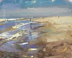 """New Blog Post: http://rosepleinair.com/seascape-colors-and-movement/ Seascape """"Colors and Movement"""" The beauty of repeating a subject is you'll get to expermiment to go further and further -with paint. Ending up with results that are again one step forward in your personal development. These moments I celebrate. SSP02-2015... View More at: http://rosepleinair.com #Beach, #Painting, #PleinairPainting, #PleinairPainting, #Roosschuring, #Seascape"""