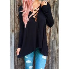 Fresh Style Hooded Solid Color Lace-Up Long Sleeve T-Shirt For Women (BLACK,S) in Long Sleeves | DressLily.com
