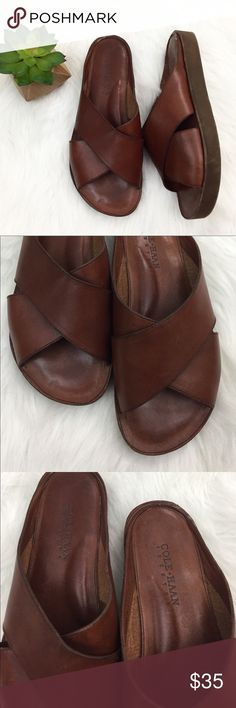 "Cole Haan Country Flatform Slide On Sandals Excellent used condition. Cole Haan ""Country"" leather slide on flatform sandals. 3/4"" flatform. Discoloration seen in last pic. Size 9, medium width. Made in Brazil. Cole Haan Shoes Sandals"