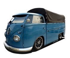 VW Split Window, Single Cab Truck with Canopy - Roof/Canopy Chopped, Lowered Bodywork and Bumpers, Large Wheels - Created in Photoshop by Gordon Calder, via Flickr