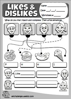 Likes & dislikes - worksheet 2 English Worksheets For Kindergarten, English Teaching Resources, English Activities, Worksheets For Kids, Primary English, Kids English, Learn English, Magic English, Grammar For Kids