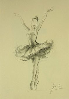 ORIGINAL pencil drawing 12 x 8 on CREAM paper of BALLERINA by Ewa Gawlik