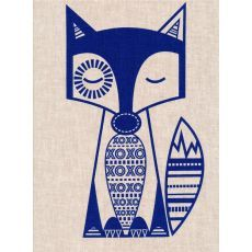 Finn McTrickster Blue on Flax Linen Craft Panel  Finn McTrickster is a cheeky fox hand screen printed in Australia by the talented duo cat  vee Finn McTrickster is adorable framed or sewn into cushions quilts kids aprons bags purses ipad covers or soft toys  Please Click the image for more information.