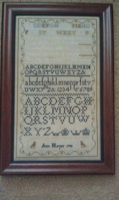 Ann Harper sampler.An R & R reproduction chart.