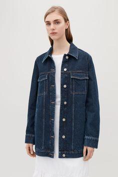 COS image 2 of A-line denim jacket  in Blue Dark