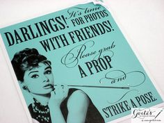 Audrey Hepburn Photo Booth - Tiffany Wedding Sign - Tiffany Decoration - Breakfast at Tiffany's on Etsy, $19.99