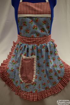 Retro Vintage 50s Style Full Apron / Pinny - Sky Blue with Strawberries & Red and White Gingham Trim