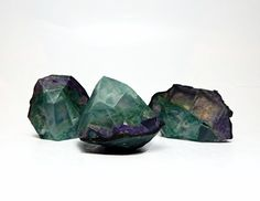 3 Piece Peacock Geode Shaped Soap Set by RockHoundSoap on Etsy