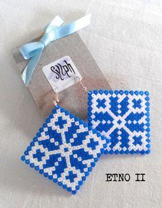 Earrings made of Hama Mini Beads Etno II by SylphDesigns on Etsy, Hama Mini, Mini Hama Beads, Fuse Beads, Pearler Beads, Hama Beads Patterns, Beading Patterns, Bead Crafts, Jewelry Crafts, Iron Beads