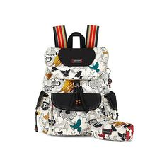 Sakroots Artist Circle Flap Backpack Backpacks ($79) ❤ liked on Polyvore featuring bags, backpacks, natural peace print, travel daypack, circle flap backpacks, laptop backpacks, laptop travel backpack and laptop rucksack