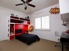 Comics-inspiriertes Kinderzimmer in Schwarz, Weiß und Rot mit Arbeitsplatz