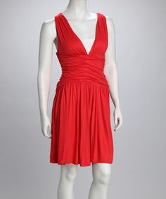 Take a look at this Coral Shirred Crisscross V-Neck Dress by La Class on #zulily today!