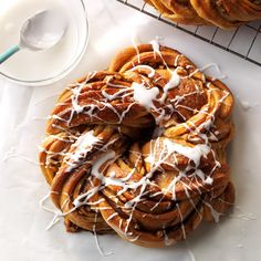 Maple Butter Twists Recipe -My stepmother passed on the recipe for this delicious yeast coffee cake that's shaped into pretty rings. When I make it for friends, they always ask for seconds. -June Gilliland, Hope, Indiana