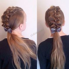 Fivestrand faux hawk into ponytail inspired by @hair_by_lori