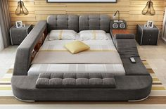 The Ultimate Bed With Integrated Massage Chair speakers and desk - Massage Chairs - Ideas of Massage Chairs - The Ultimate Bed With Integrated Massage Chair speakers and desk Bedroom Bed Design, Bedroom Chair, Cozy Bedroom, Bedroom Furniture, Furniture Design, Bedroom Ideas, Futuristic Bed, Smart Bed, Massage Bed