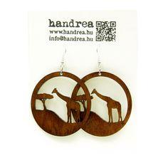 Brown African Giraffe laser cut wood earrings from handrea design
