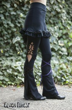 Tassel Lace Up Dance Pants - in Black or Brown - you choose your color strings.  via Etsy.
