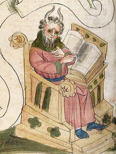 Moses wearing glasses Bible, Hagenau ca. 1441-1449. Universitätsbibliothek Heidelberg, Cod. Pal. germ. 19, fol. 141v