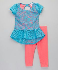 Look at this Dollhouse Blue Zebra Lace Top & Leggings - Infant, Toddler & Girls on today! Baby Outfits, Toddler Girl Outfits, Toddler Fashion, Fashion Kids, Kids Outfits, Cute Outfits, Toddler Girls, Tunic Leggings, Girls In Leggings