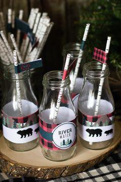Lumberjack Bottle Wrappers, Lumberjack Birthday, Bear Straw Flags,  River Water Wrapper, Woodland Birthday Decor, INSTANT DOWNLOAD #lumberjack #woodland