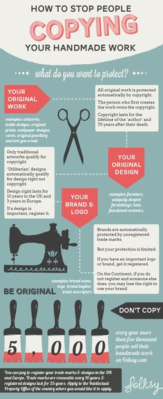 Business infographic & data visualisation How to stop people copying your handmade work Infographic Description copyright infographic, how to protect your handmade work, copyright law uk – Infographic Source – Etsy Business, Craft Business, Business Tips, Business Infographics, Infographics Design, Health Infographics, How To Protect Yourself, Utila, Sewing Projects For Beginners