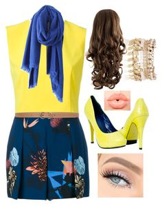 """Blue and yellow"" by bamagalhgf on Polyvore featuring Proenza Schouler, Alice + Olivia, Max Studio, River Island and NYX"