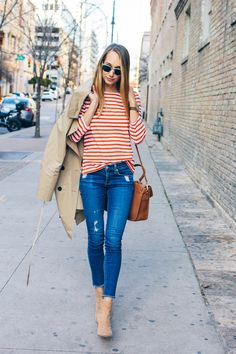 striped tee, trench coat, distressed jeans, tan booties, casual outfit, everyday outfit —via @TheFoxandShe