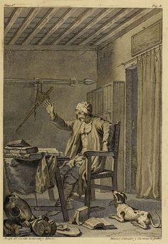 """""""El Ingenioso hidalgo don Quijote de la Mancha"""", ed. Ibarra, Madrid, 1780. p. 4, La Bibilioteca de Don Quijote, grabado por Manuel Salvador Carmona sobre dibujo de José del Castillo / Wikimedia"""
