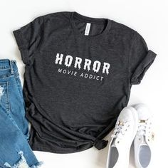 Horror movie addict funny halloween shirt for women graphic tees scary halloween costume festival clothing gift for womens - Black / 2XL