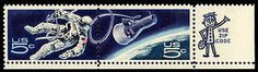 The 5-cent Accomplishments In Space commemorative stamps, issued September 29, 1967, depict a space-walking astronaut linked to a Gemini capsule. The issue itself, the first two-stamp single design ever released by the United States, depicts the spacewalk successfully completed during Project Gemini. See the US flag in the design?