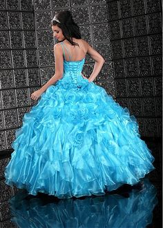 Special One Shoulder Ball Gown Floor-length Tiered Layers Blue Tone Special Occasion Dresses